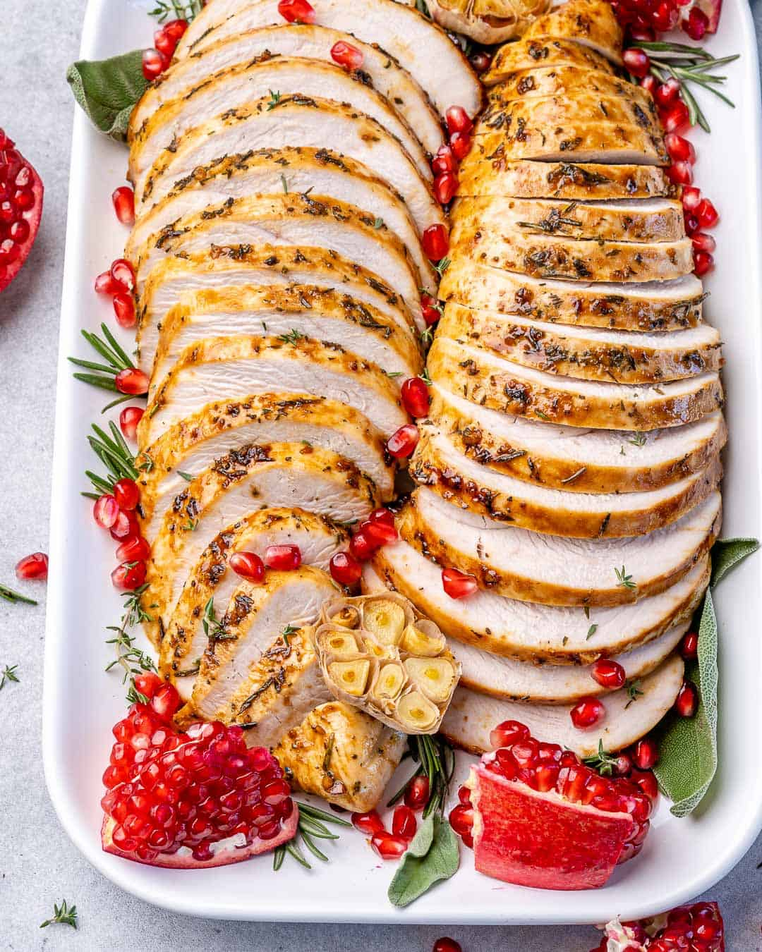 side shot of sliced roasted turkey breast
