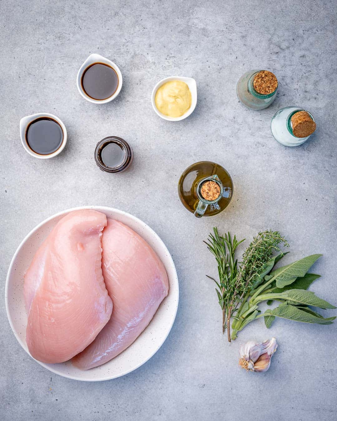 Ingredients for roasted turkey breast and maple mustard glaze