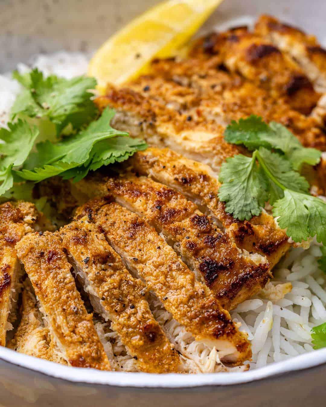 Close view of sliced tandoori chicken served over rice with cilantro garnish