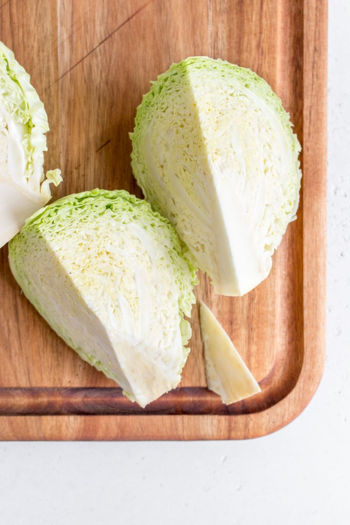 Green cabbage Quartered