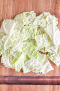 cut up cabbage into smaller sizes