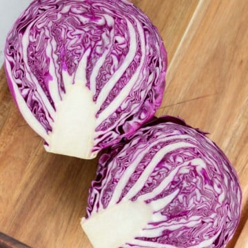 top view of red cabbage cut in half