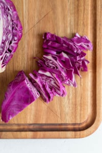cabbage flat down cut into strips