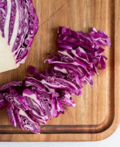 red cabbage cut into smaller shreds