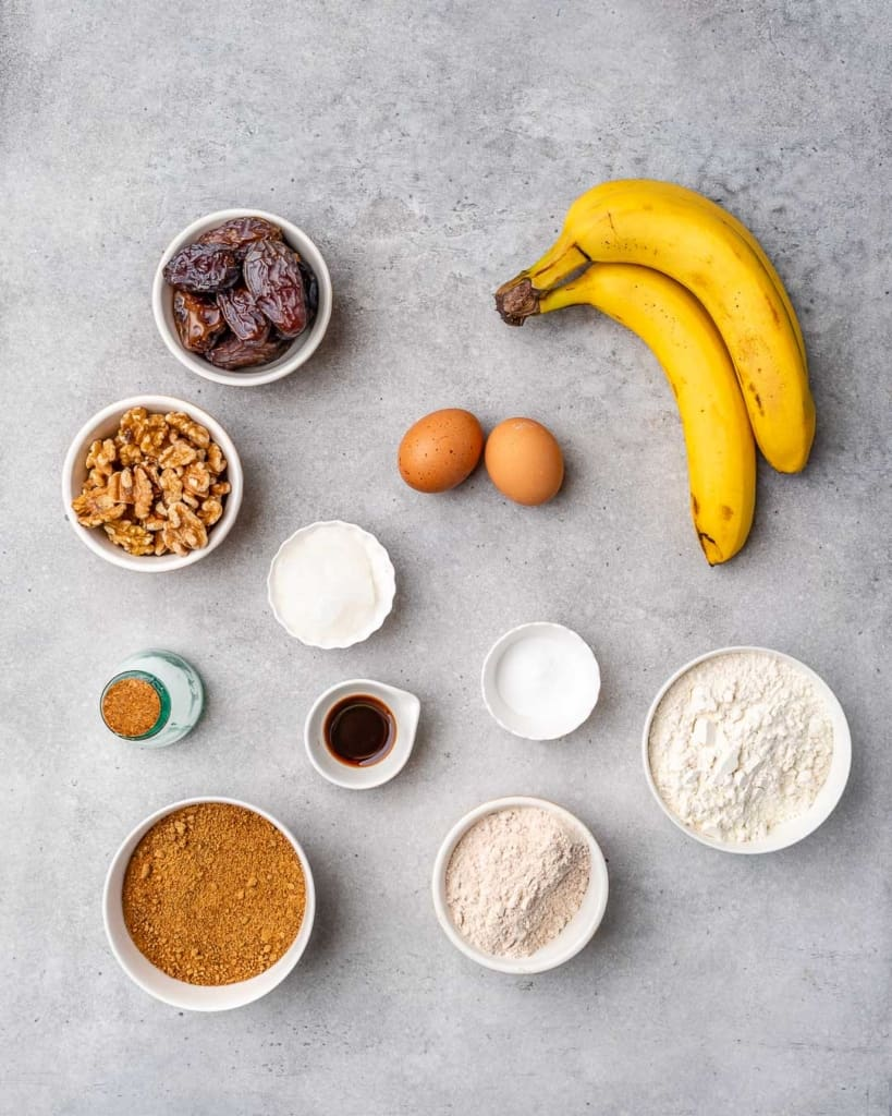 ingredients to make the banana nut bread