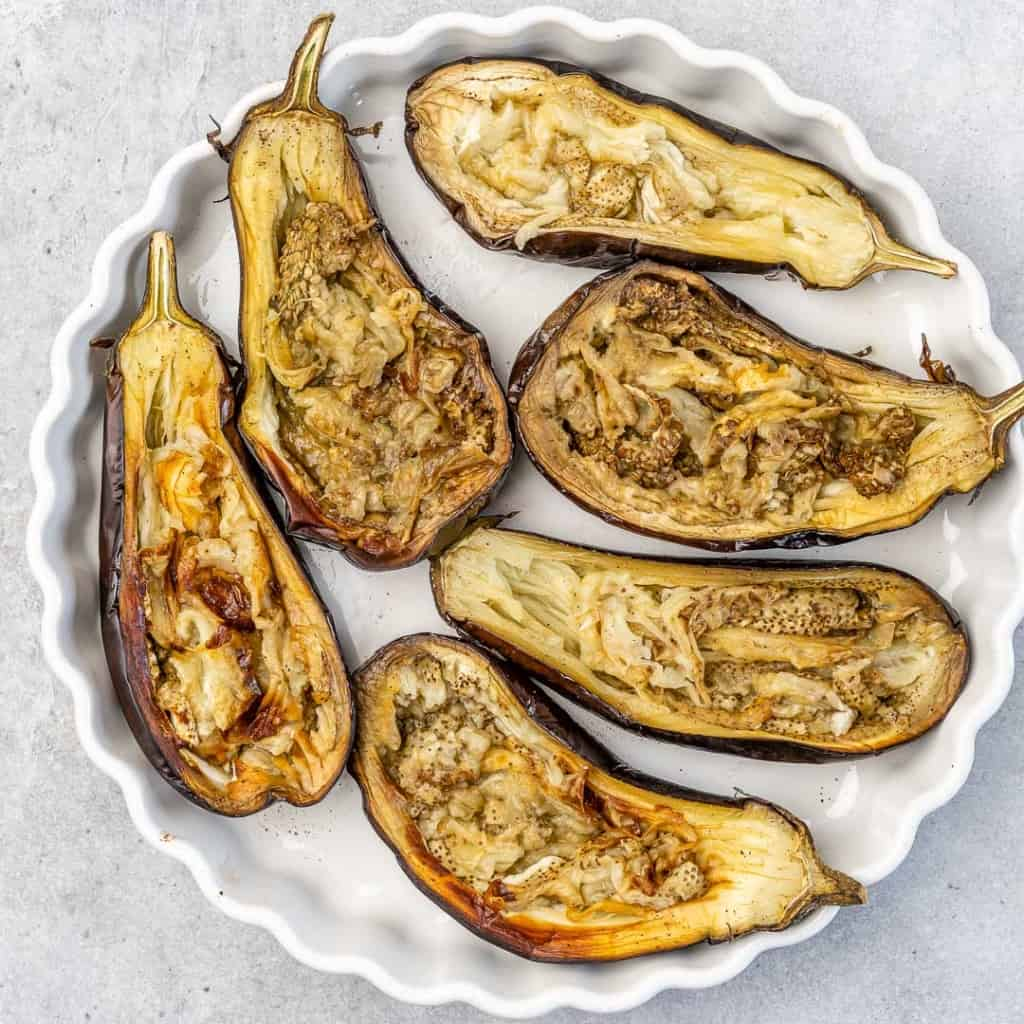 Roasted eggplant in a dish.