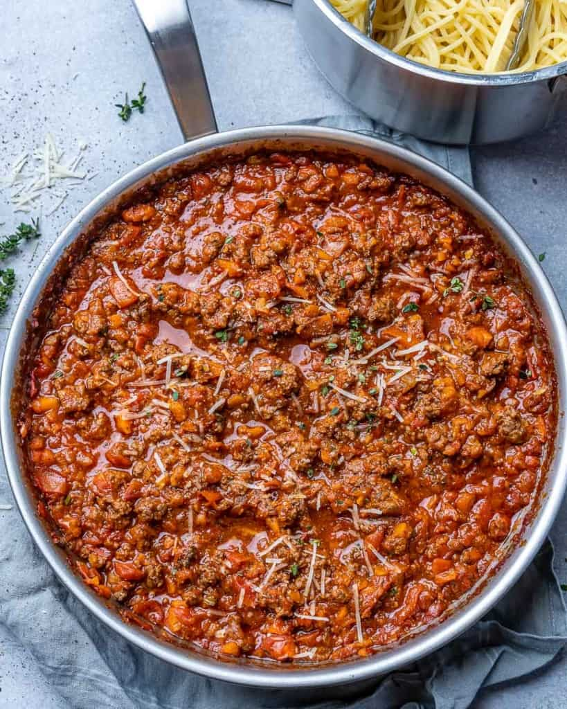 Bolognese sauce inside of a pan.