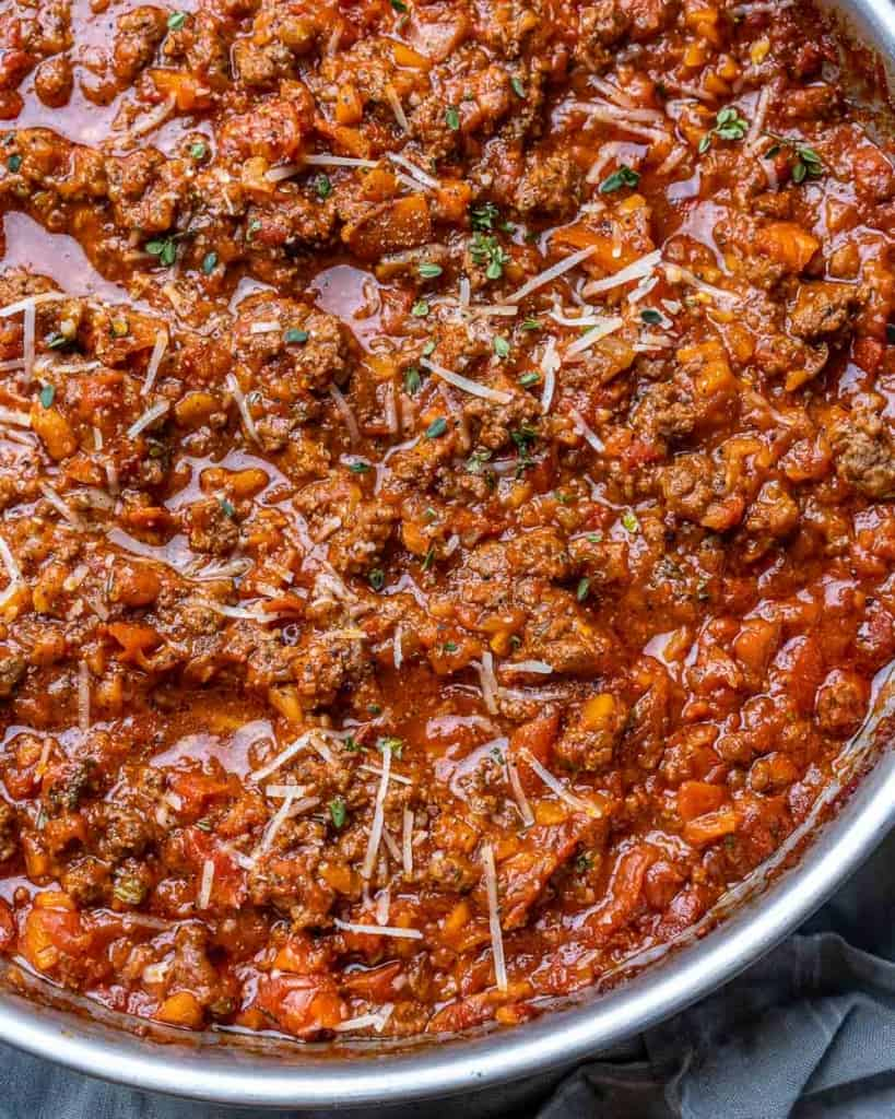 top view of bolognese sauce in a pan