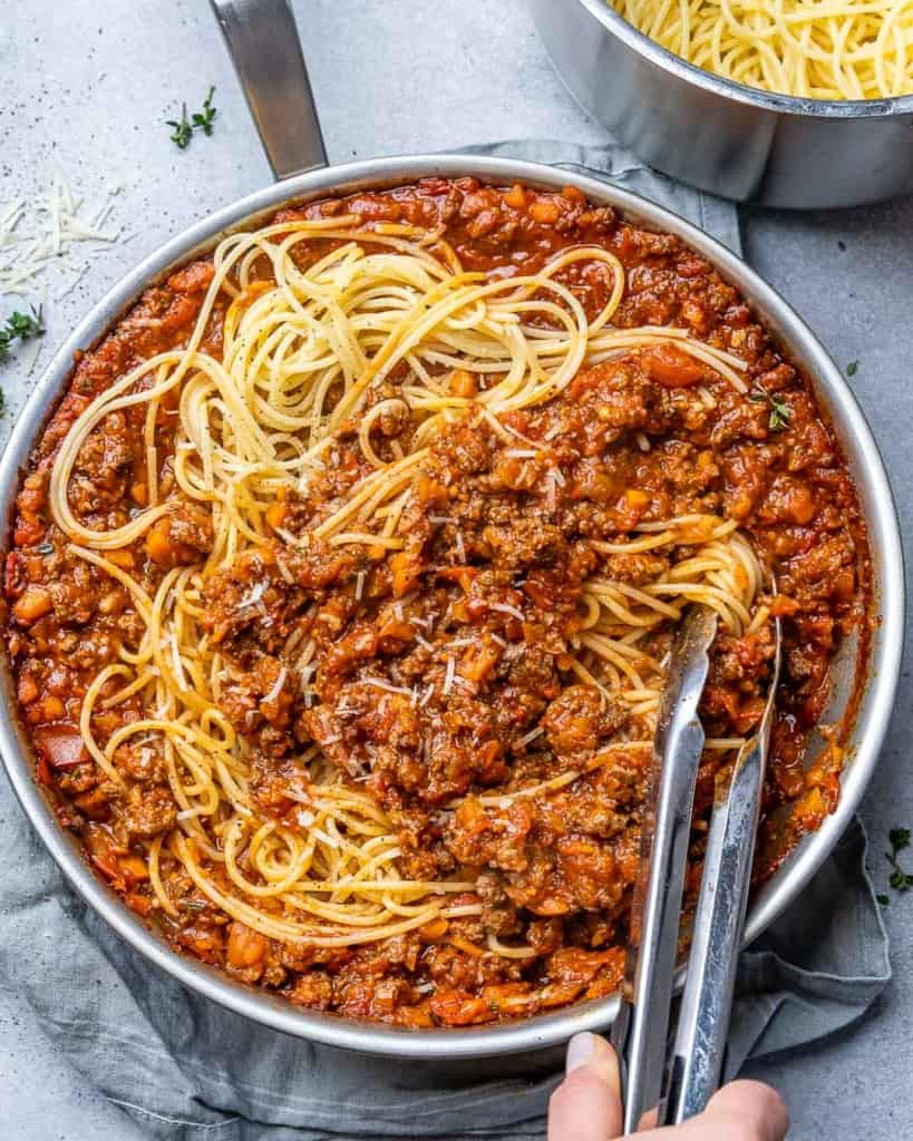 Bolognese with pasta in a pan.