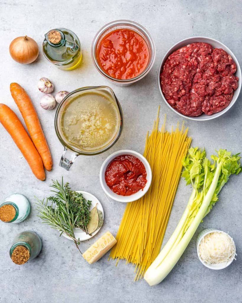 Ingredients for bolognese.