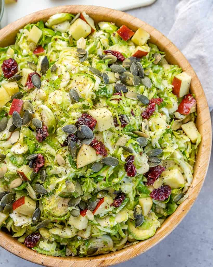 Shaved Brussels sprouts salad in a bowl.