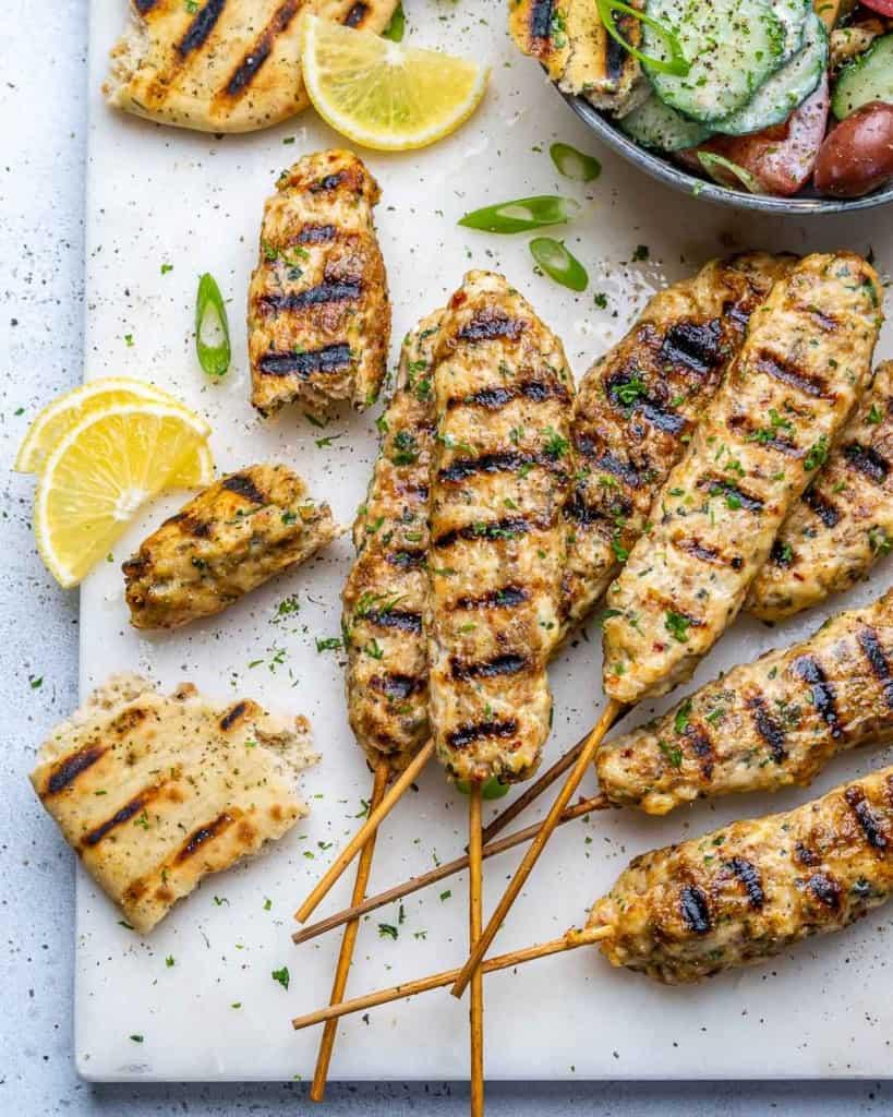 top view chicken kebab skewers