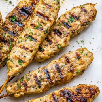 grilled chicken kafta on a white platter