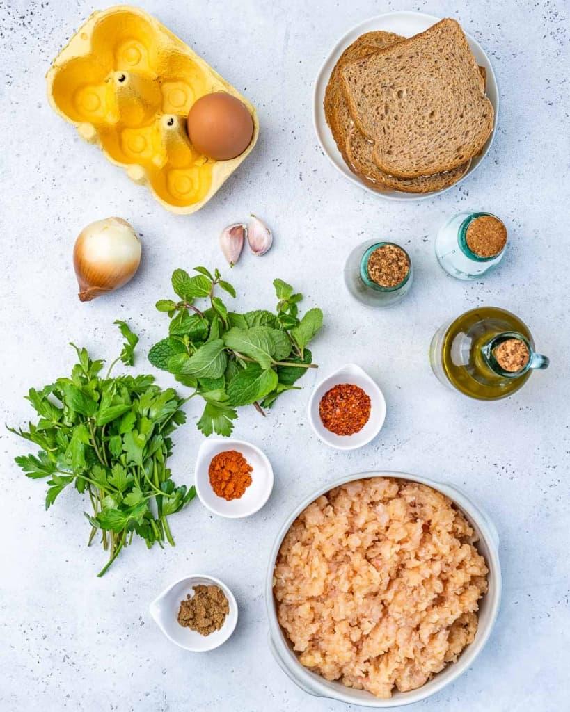 ingredients to make chicken kafta