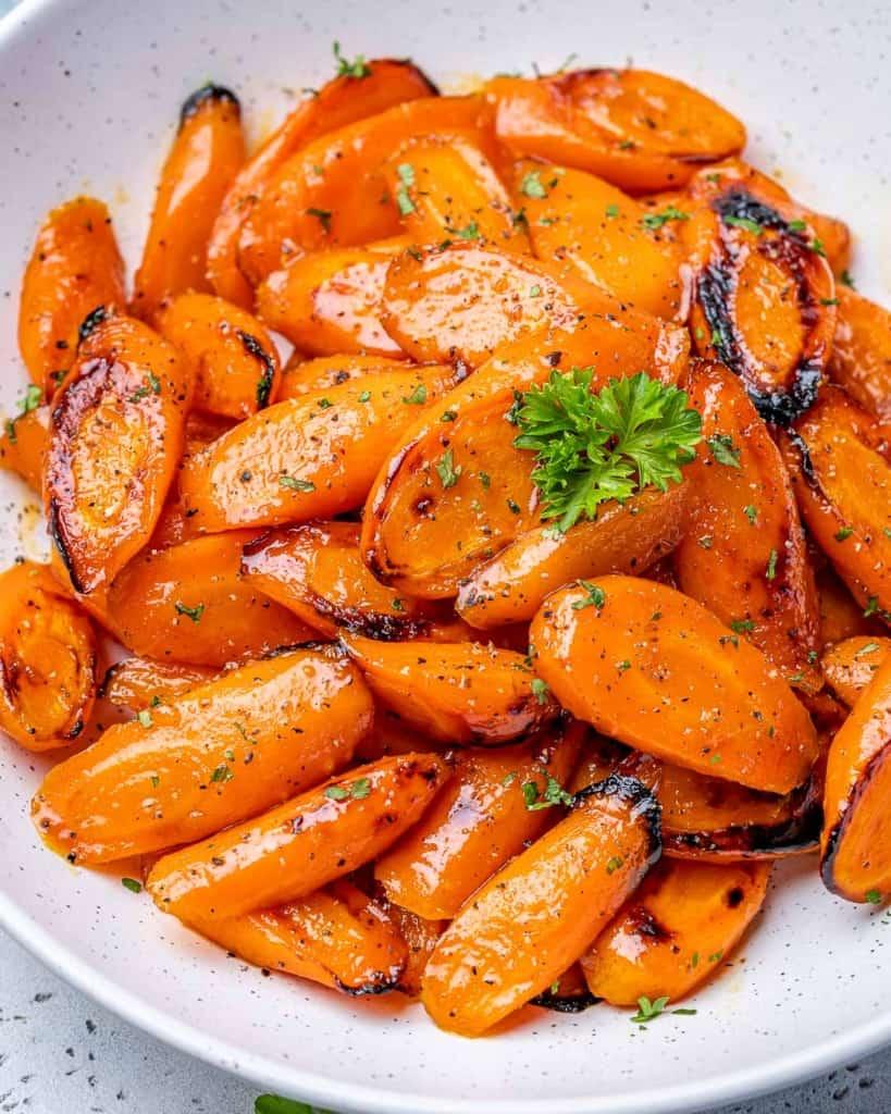 side shot of roasted honey carrots