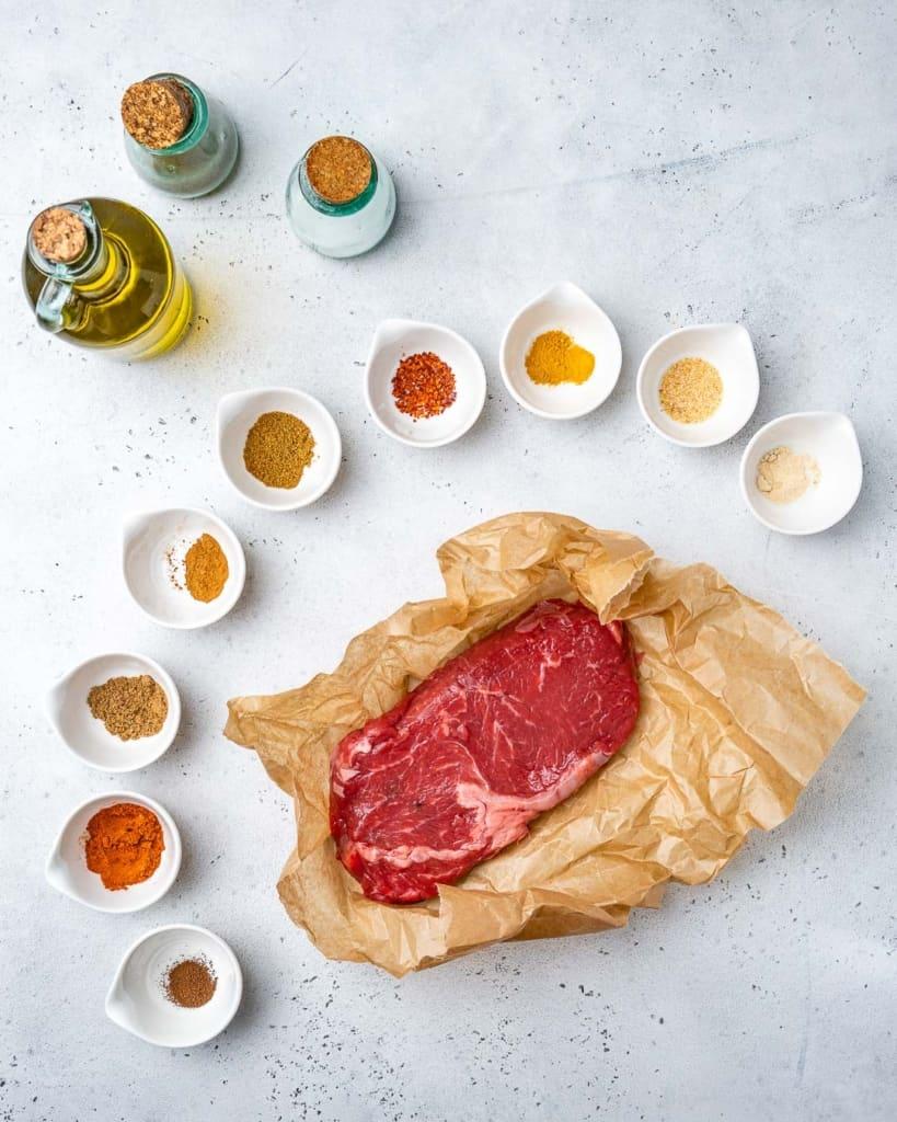 ingredients to make beef shawarma