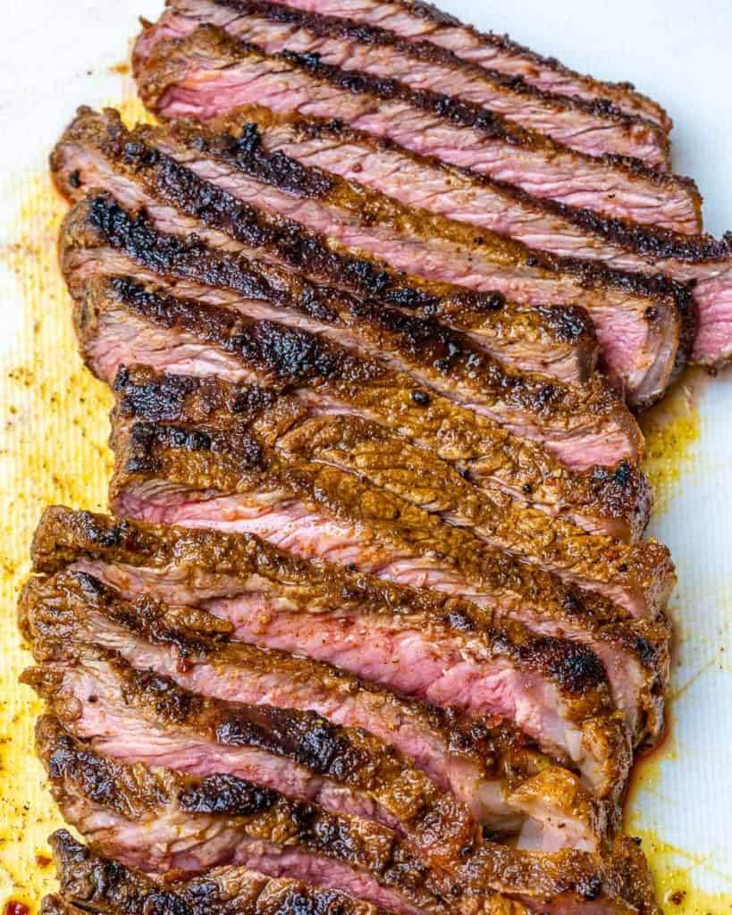 sliced cooked steak on a cutting board