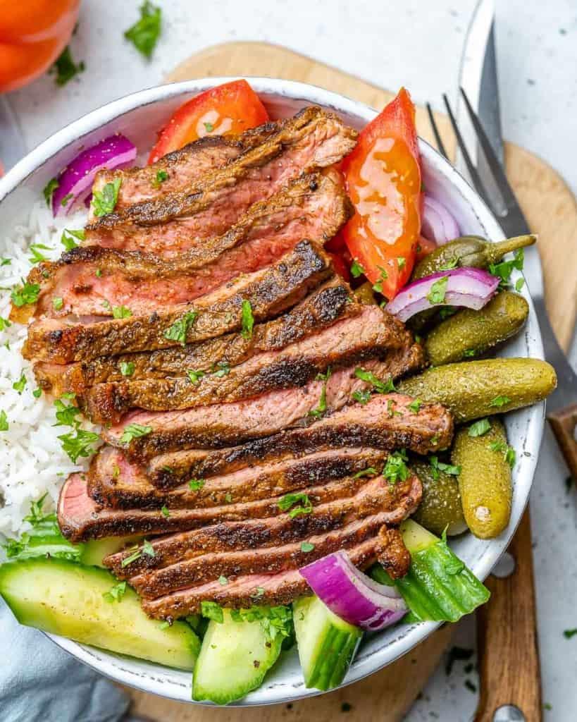 top view close up image of beef shawarma