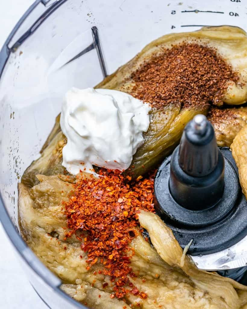 baba ganoush ingredients in food processor before being processed