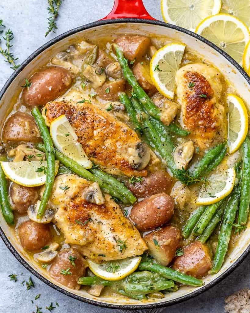 top view chicken and potatoes skillet