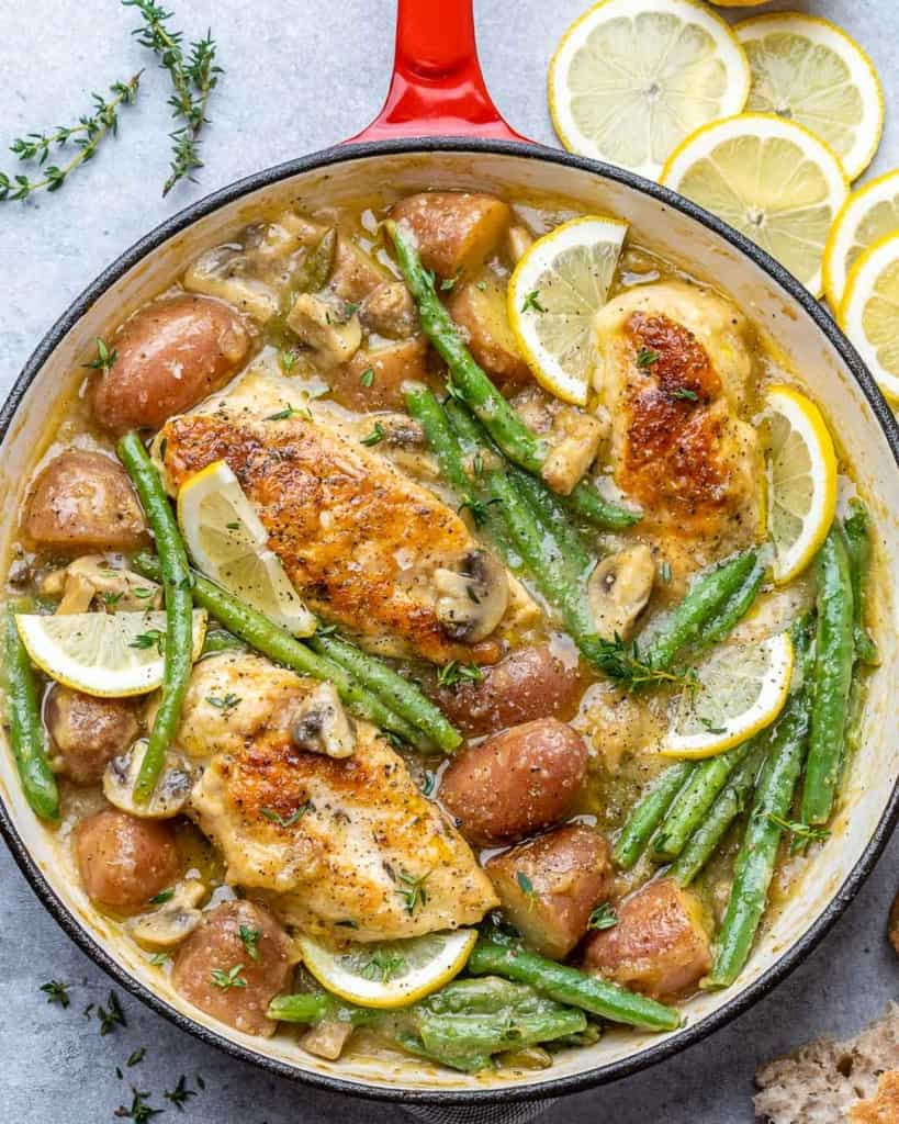top view chicken skillet with potatoes and green beans