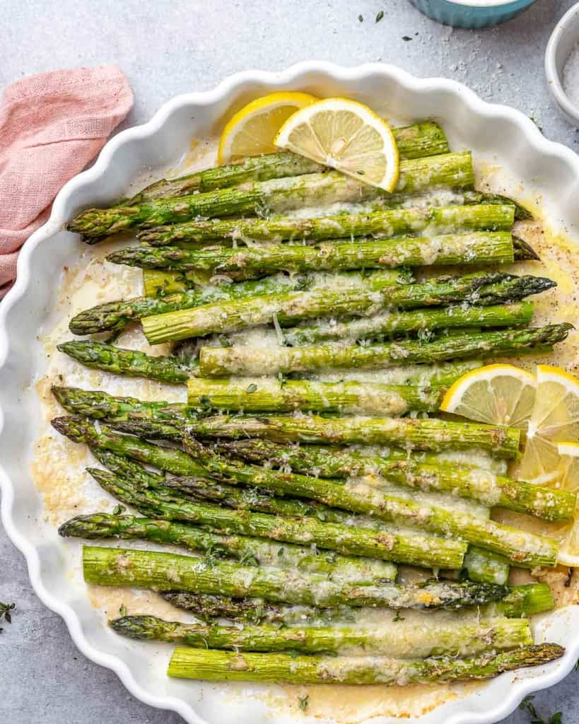 top view asparagus in a white dish