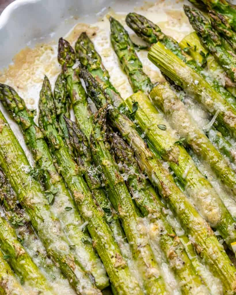 close up baked asparagus