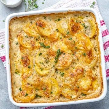 top view potato au gratin in a white dish