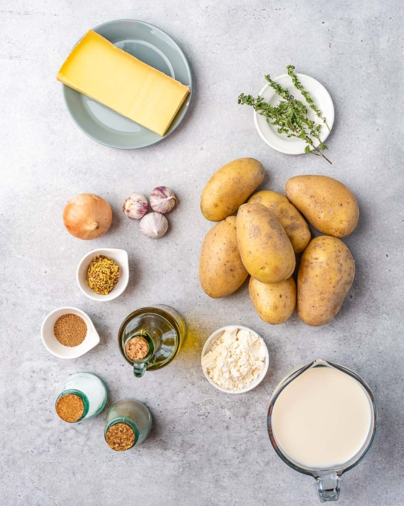 ingredients for potato au gratin