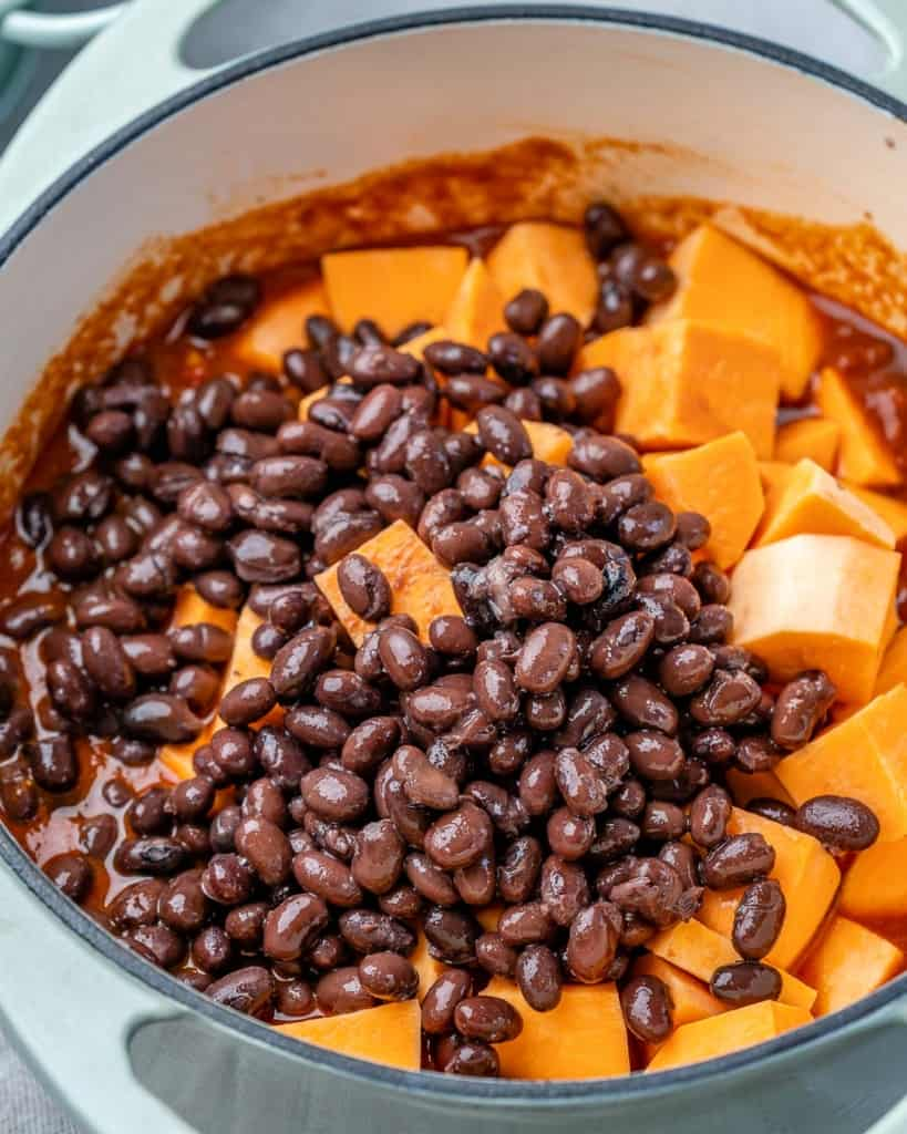 Beans and sweet potatoes in a bowl.