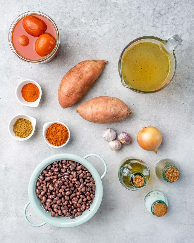 Top down view of sweet potato chili ingredients.