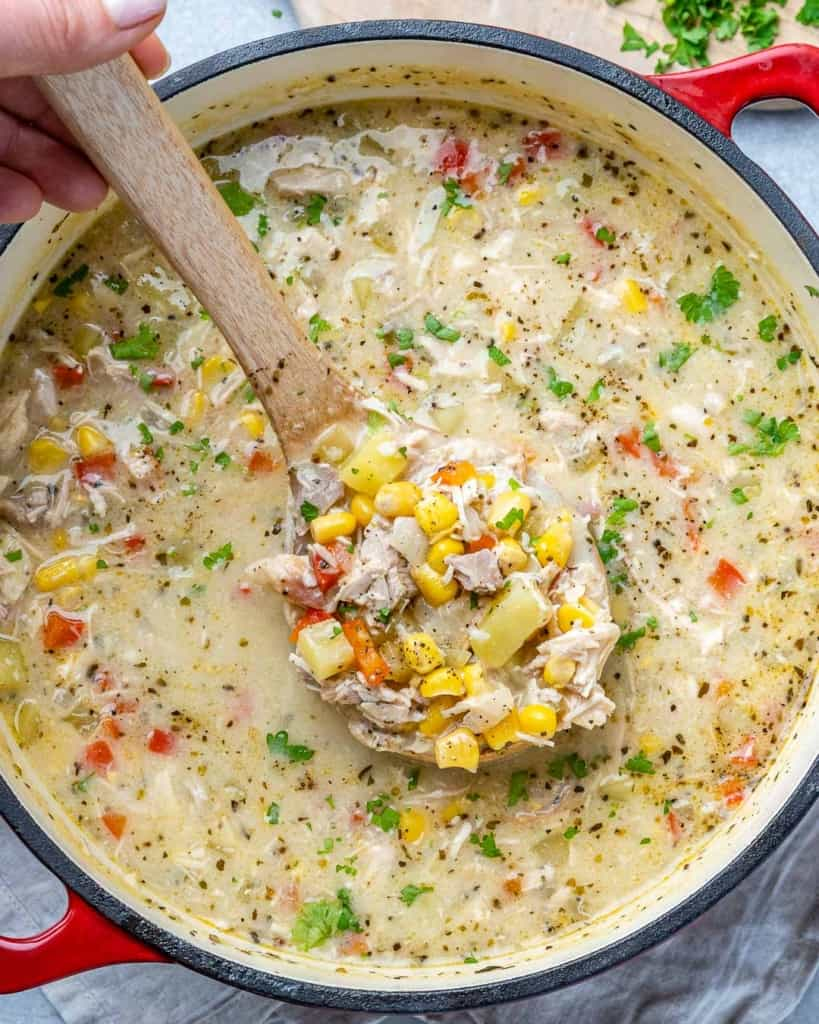 top view corn chowder recipe in a red pot