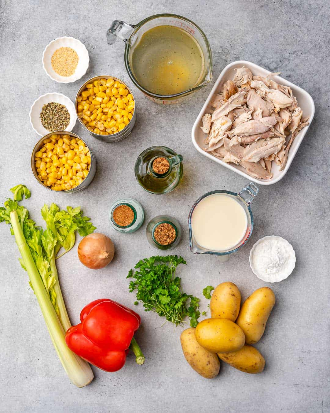 Ingredients for healthy turkey corn chowder on counter.