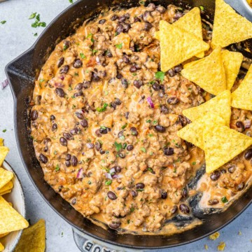 top view queso dip with tortilla