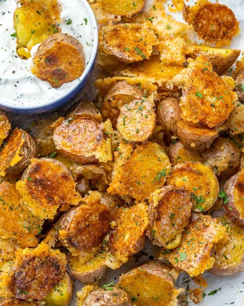 Top view of crispy Parmesan roasted potatoes