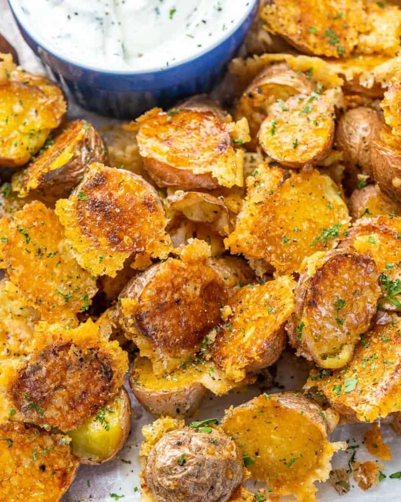 Top view of crispy Parmesan potatoes
