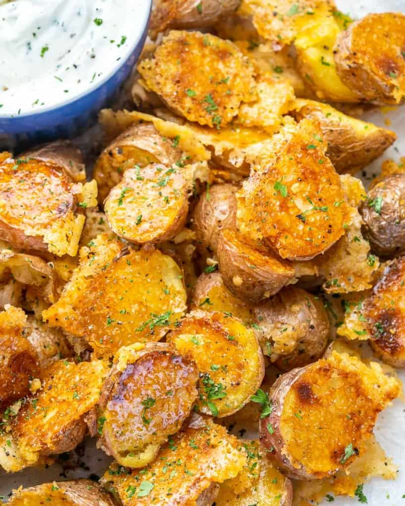 Close view of crispy Parmesan potatoes