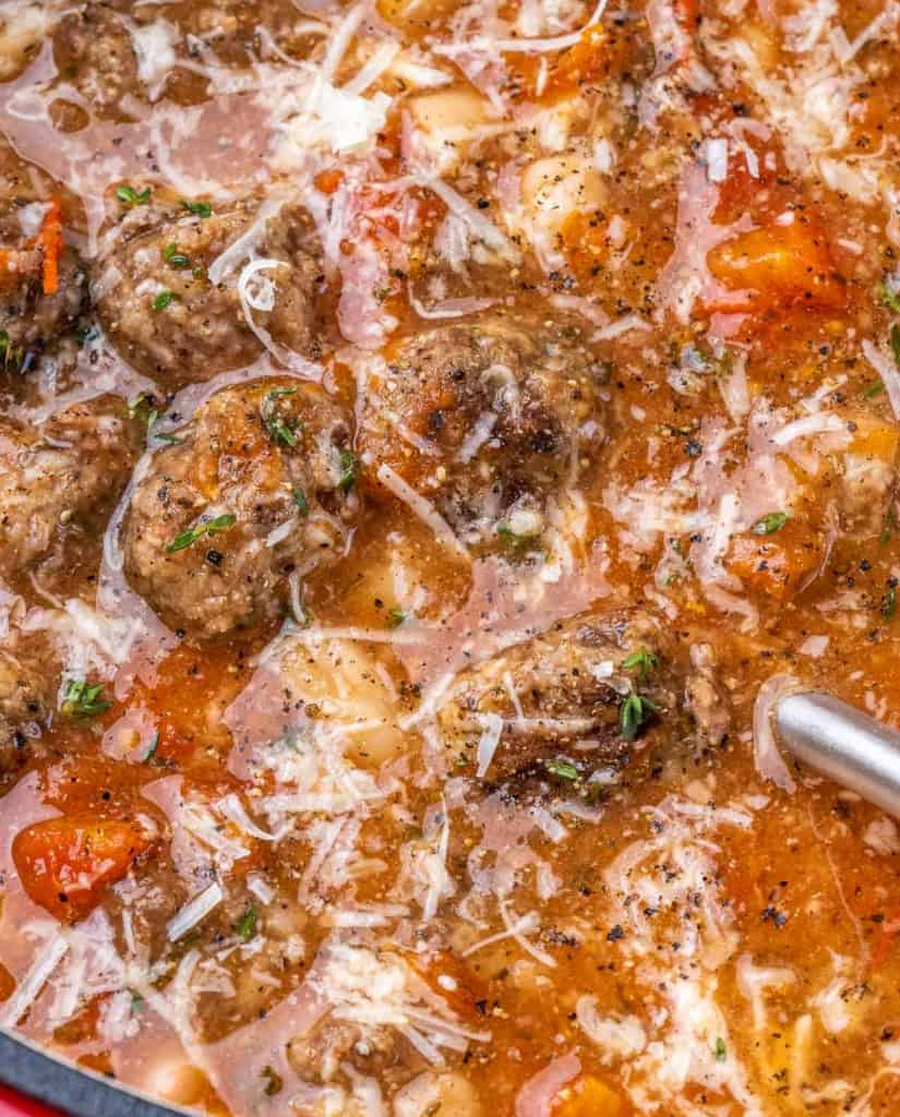 close up meatball soup