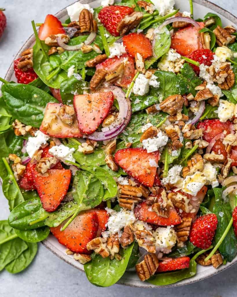close up strawberry spinach salad