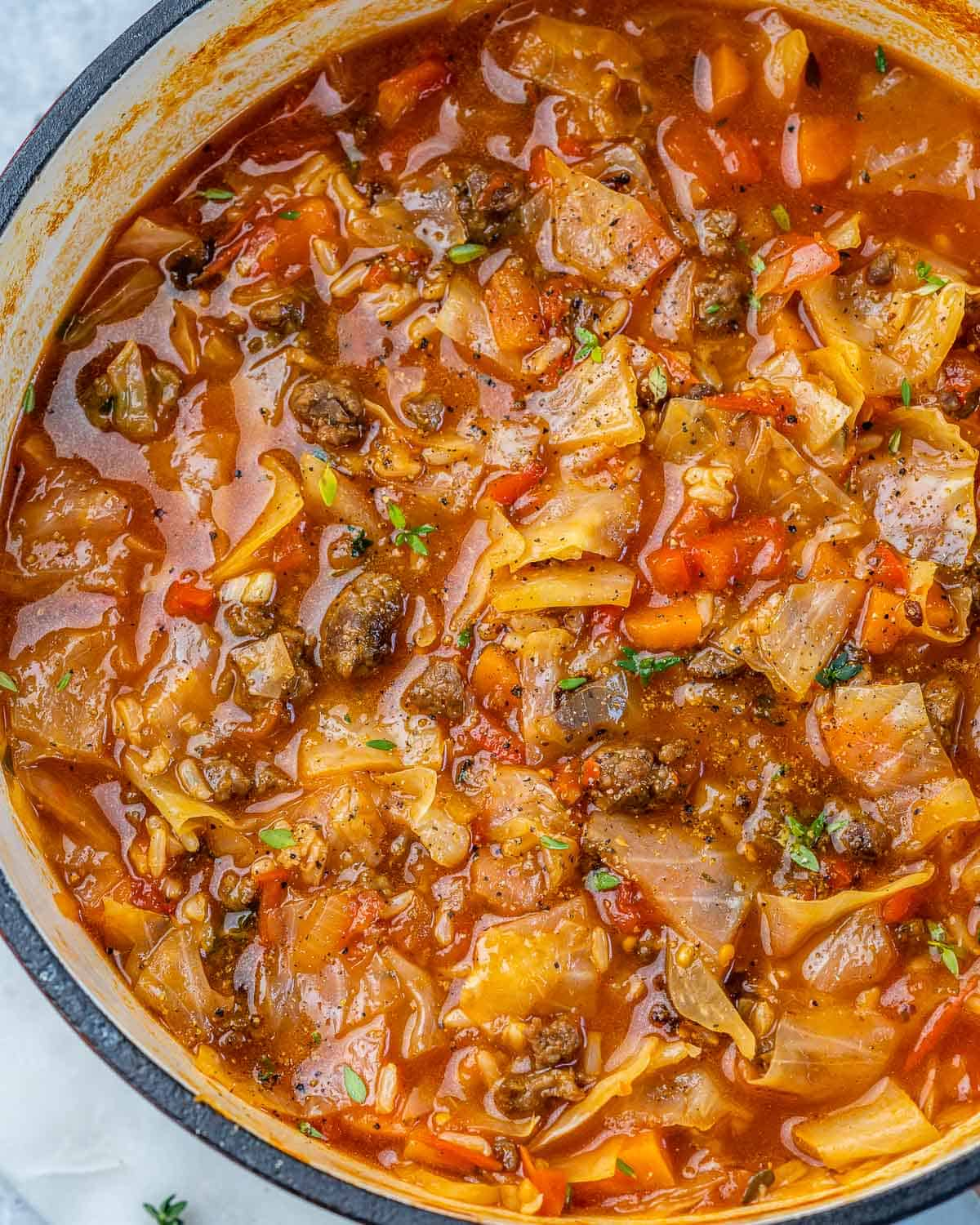 Dutch oven with finished cabbage roll soup.