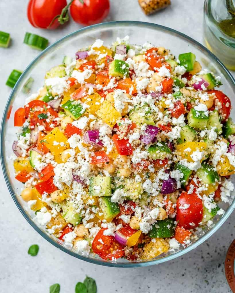 top view quinoa salad in a clear bowl