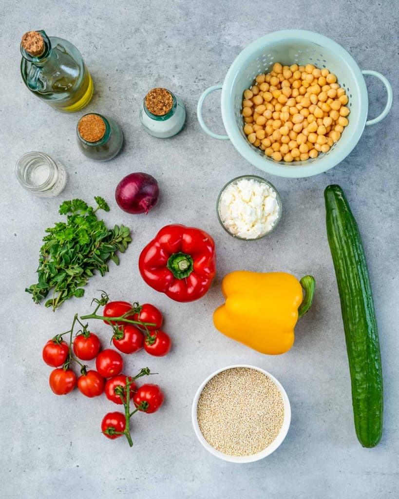 ingredients to make chickpea salad