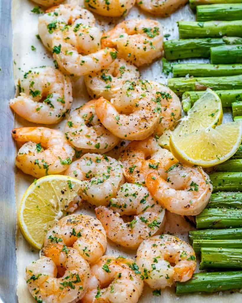 close up shrimp and asparagus