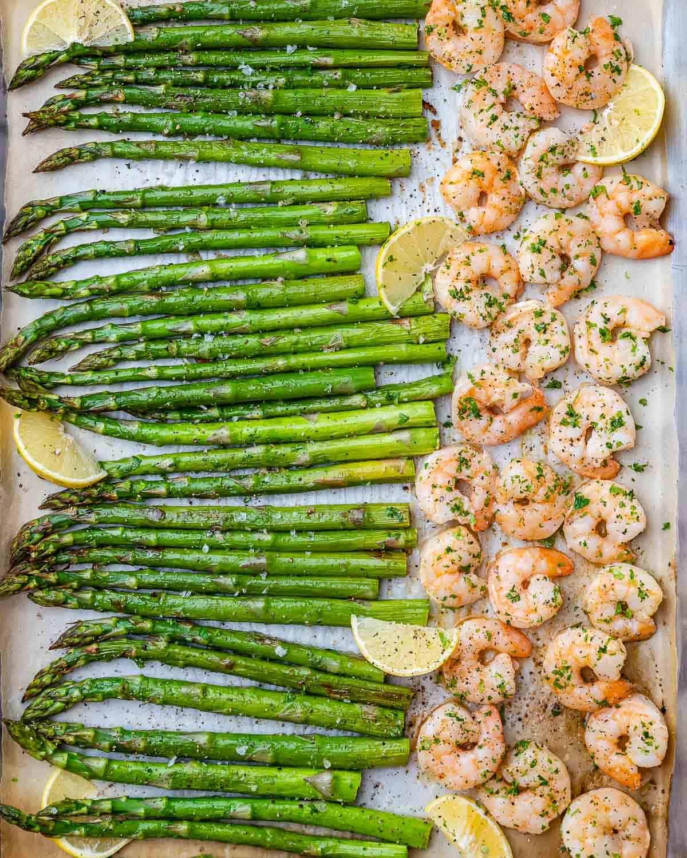 top view sheet pan of shrimp and asparagus
