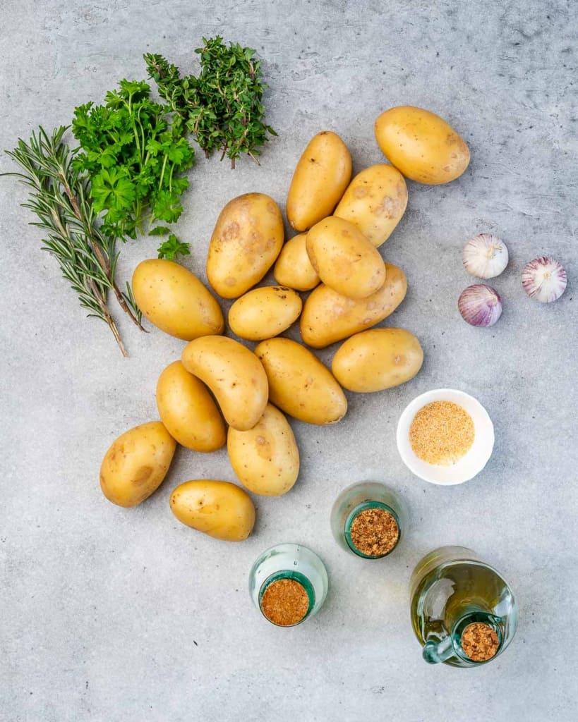 ingredients for garlic roasted potates