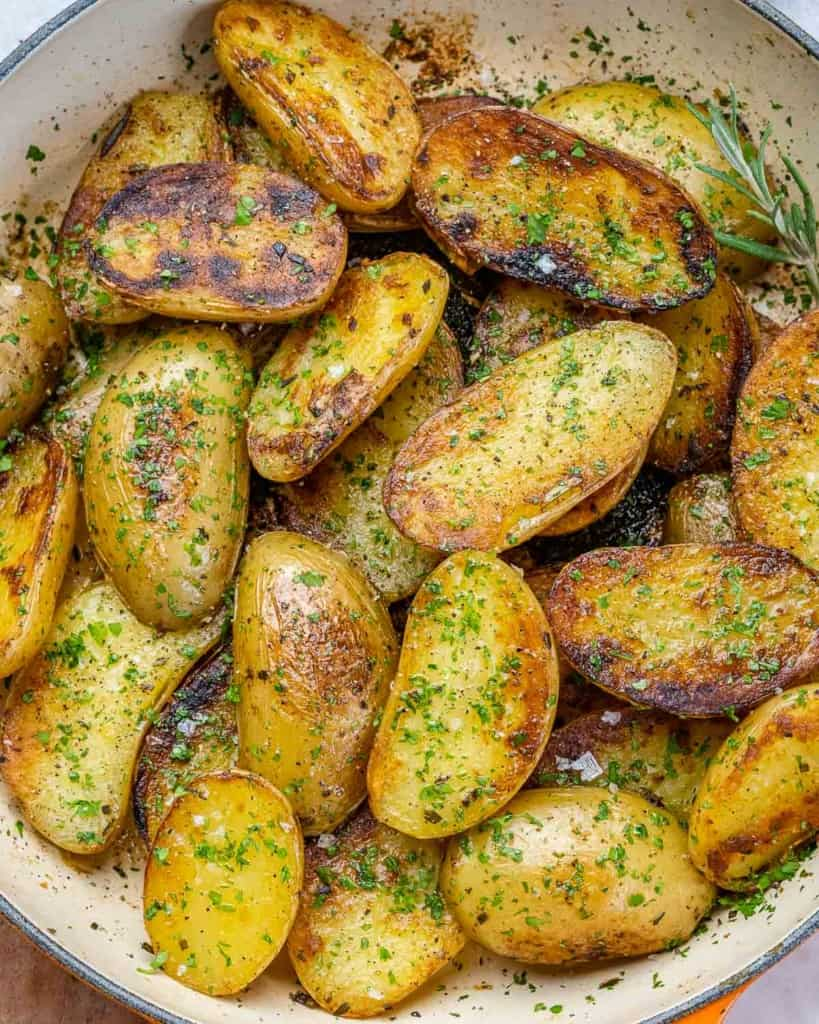 top view roasted potatoes in a skillet