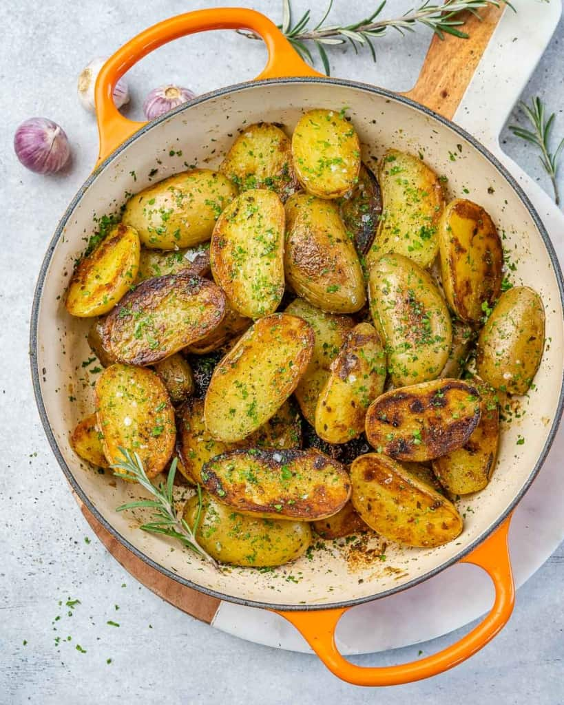 top view roasted potatoes