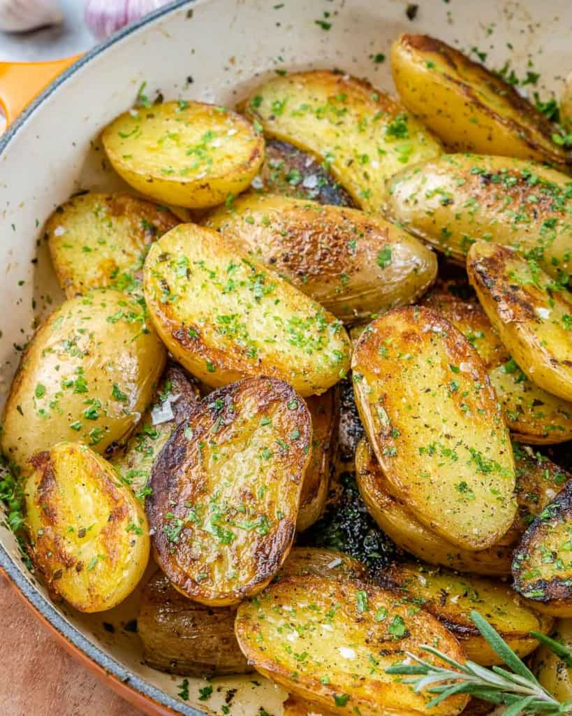 top view of roasted potatoes in skillet
