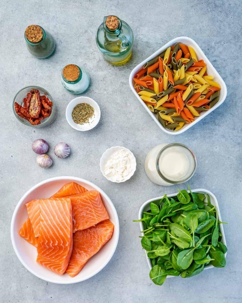 ingredients to make salmon pasta