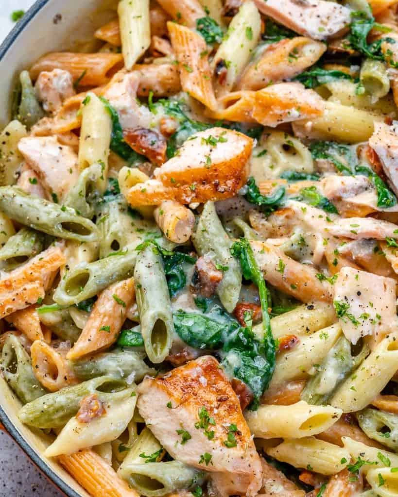 close up view of salmon pasta
